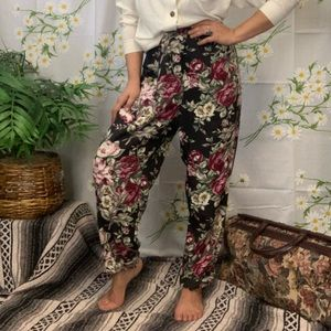Vintage floral print high waisted tapered trousers